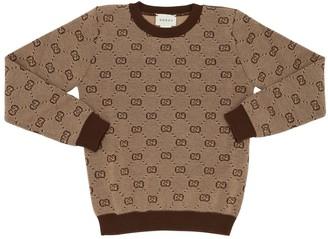 Gucci Logo Jacquard Wool Blend Knit Sweater