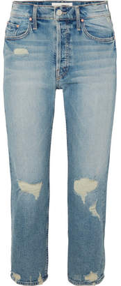 Mother The Tomcat Cropped Distressed High-rise Straight-leg Jeans - Light denim