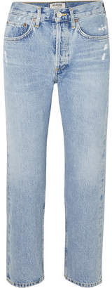 A Gold E Agolde AGOLDE - Parker Distressed Cropped Mid-rise Straight-leg Jeans - Mid denim