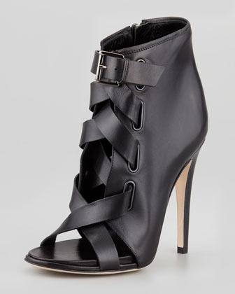 Diane von Furstenberg Radcliff Lace-Up Open-Toe Bootie, Black