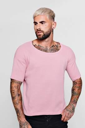 boohoo Short Sleeve Honeycomb Knitted T-Shirt