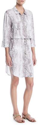 Heidi Klein Alhambra Printed Button-Front Shirt Dress Coverup