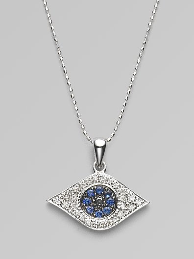 Sydney Evan Diamond, Sapphire & 14K White Gold Evil Eye Necklace