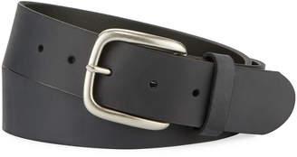 Neiman Marcus Men's Casual Cut-Edge Leather Belt, Black