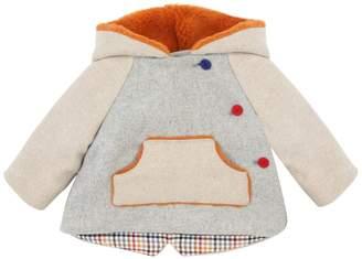 Wool Felt & Faux Shearling Coat W/ Hood