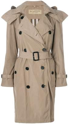 Burberry Detachable Hood Tafetta Trench Coat
