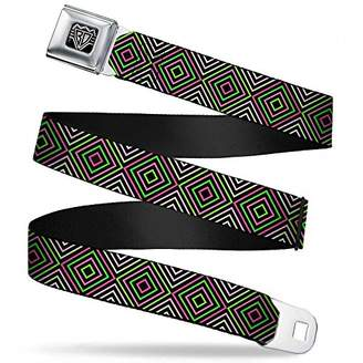 Seatbelt Belt - Square Lines Black/Greens/Pinks