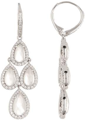 Nadri Silver-Tone Crystal & Stone Drop Earrings