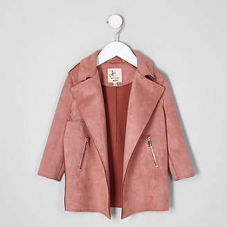 River Island Mini girls Orange pink faux suede trench coat