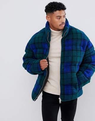 Asos Design DESIGN borg puffer jacket in blue check