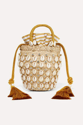 Aquazzura Le Ninè Riviera Mini Tasseled Embellished Raffia And Canvas Tote - Beige