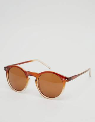 clear ASOS DESIGN ASOS Keyhole Round Sunglasses with Brown to Fade Frame