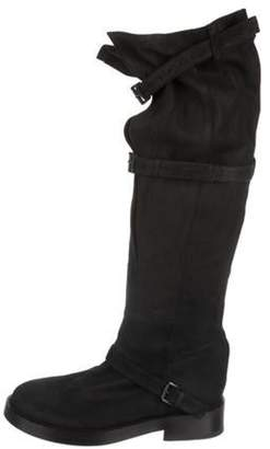 Ann Demeulemeester Round-Toe Over-The-Knee Boots Black Round-Toe Over-The-Knee Boots