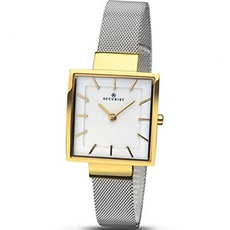 Accurist Ladies Analogue Watch with White Dial andステンレススチールブレスレット8131