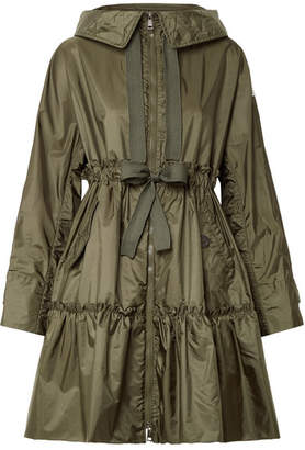 Moncler Hooded Ruffled Shell Jacket - Army green