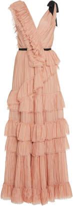 Johanna Ortiz Petals On The Wind Ruffled Silk Mesh Dress