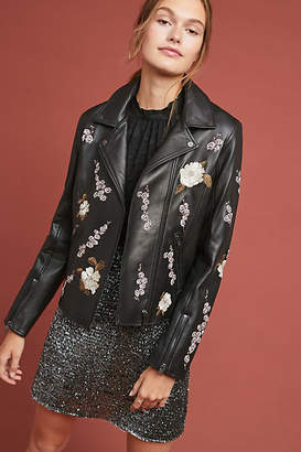 Lamarque Embroidered Leather Jacket