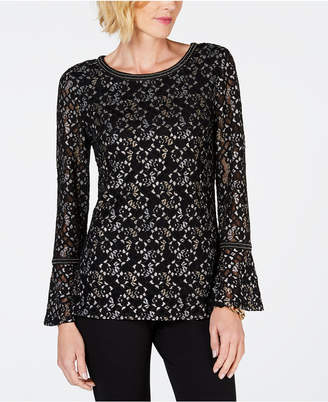 JM Collection Metallic Lace Bell-Sleeve Top