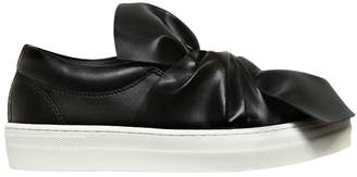 Faux Leather Slip-On Sneakers W/ Bow