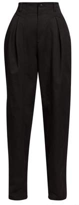 Isabel Marant Handy Inverted Pleat Cotton Tapered Leg Trousers - Womens - Black