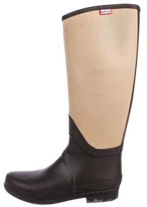Hunter Canvas Panel Mid-Calf Rain Boots Brown Canvas Panel Mid-Calf Rain Boots