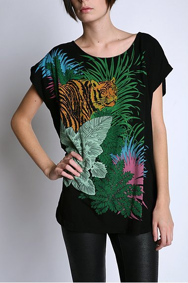 Truly Madly Deeply Tiger Keyhole Back Tee