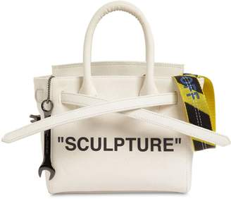 Off-White Logo Printed Canvas Top Handle Bag
