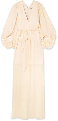 Halston Fortuny Plissé-chiffon Gown - Cream