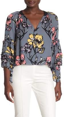 Ramy Brook Dina Floral 3/4 Sleeve Silk Blouse