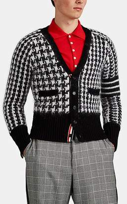 Thom Browne Men's Houndstooth Wool-Blend V-Neck Cardigan - Black