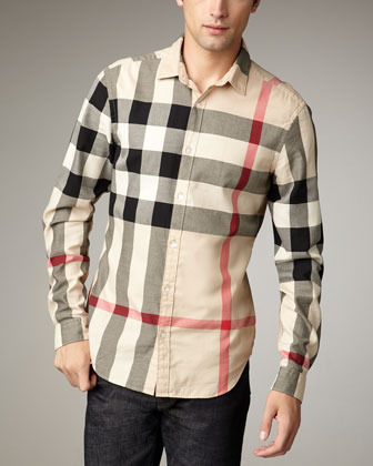 Burberry Quad-Check Woven Shirt, New Classic