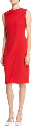 Ralph Lauren Laciann Sleeveless Drape-Front Crepe Cady Sheath Dress