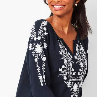 Talbots Embroidered Gauze Popover
