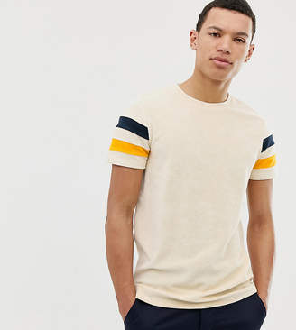 Asos Design DESIGN Tall t-shirt in towelling with contrast sleeve panels in ecru