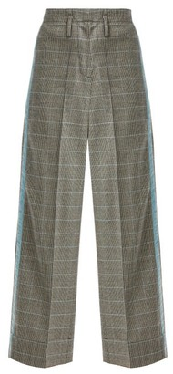 Racil Nitta Houndstooth Wool Blend Trousers - Womens - Grey Multi