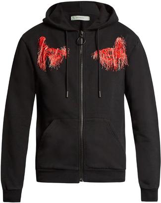 OFF-WHITE Scorpion cotton-jersey hooded sweatshirt $437 thestylecure.com