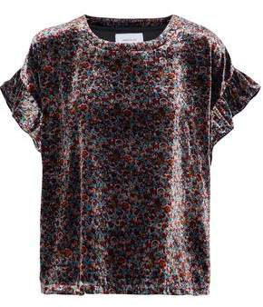Current/Elliott Janie Floral-Print Velvet Top