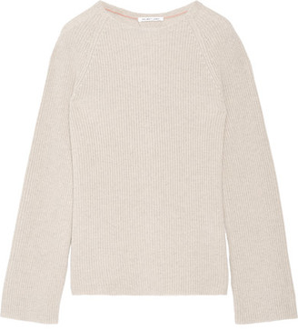 Helmut Lang - Open-back Cotton And Cashmere-blend Sweater - Stone $415 thestylecure.com