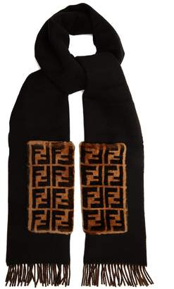 Fendi Shearling-trimmed wool and cashmere-blend scarf