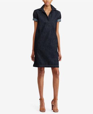 Lauren Ralph Lauren Denim Cotton Shift Dress $125 thestylecure.com