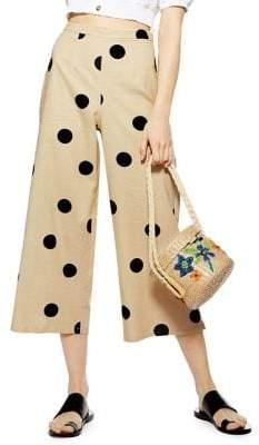 Topshop Lulu Polka Dot Cropped Wide-Legged Trousers