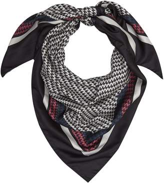 Reiss Ruby Puppytooth Patterned Silk Scarf