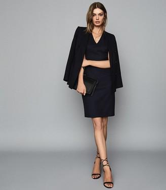 Reiss HARTLEY SLEEVELESS DRESS TAILORED V-NECK DRESS Navy