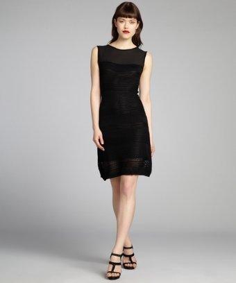 Taylor black chiffon and crochet knit sleeveless dress