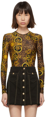 Versace Brown and Yellow Leopard Baroque Bodysuit