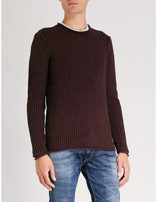 Replay Waffle-knit cotton jumper