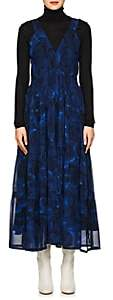 Proenza Schouler Women's Peony-Print Silk Midi-Dress - Blue, Black