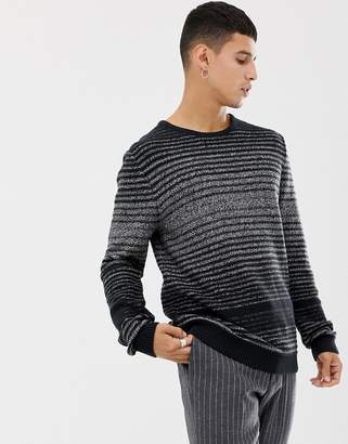 Selected melange stripe knitted sweater