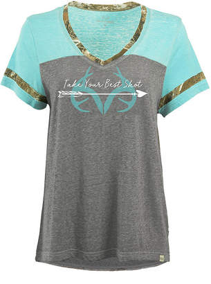 Realtree Clover S S Tee Short Sleeve Boat Neck Camouflage T-Shirt-Womens