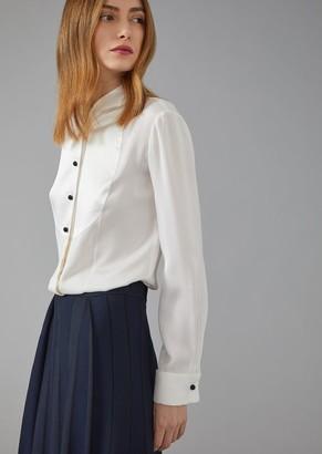 Giorgio Armani Silk Twill Dinner Shirt With Plastron